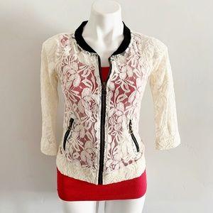 Daytrip White Floral Lace Zip Up Sheer Cardigan